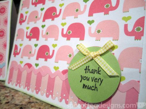 Pink Elephant Thank Card