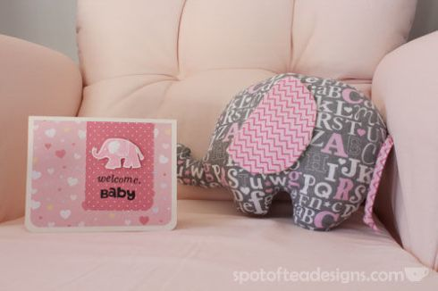 Welcome Baby Handmade Card Elphant Themed | spotofteadesigns.com