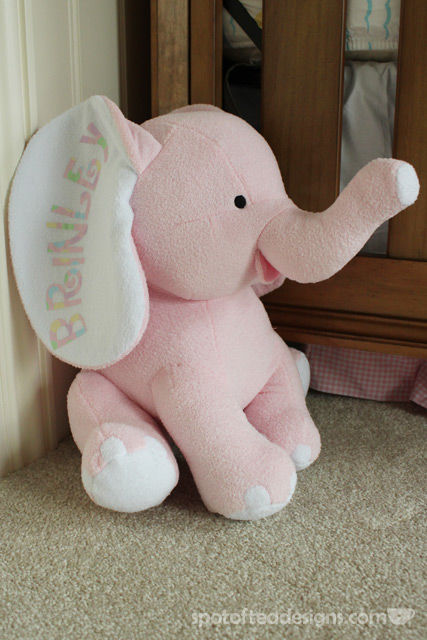 Personalized Elephant stuffed animal for a new baby | spotofteadesigns.com