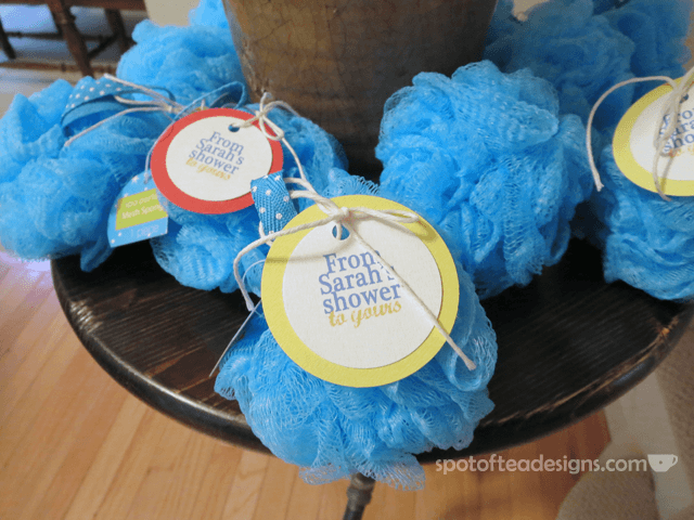 "Nautical Baby Shower: ""from sarah's shower to yours"" pouf favors 