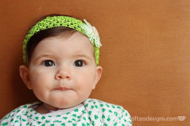 St Patricks Day Baby Shamrock headband | spotofteadesigns.com