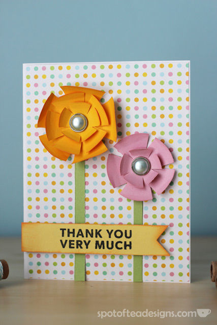 """""""Thank You Very Much"""" Handmade card using nesting circle punch shapes 