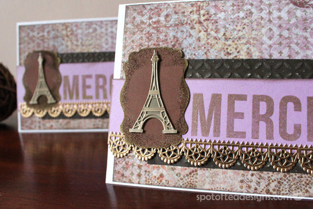 "Use Your Stash Challenge: Handmade Thank You ""Merci"" cards using Jolee's By You Embellishments 