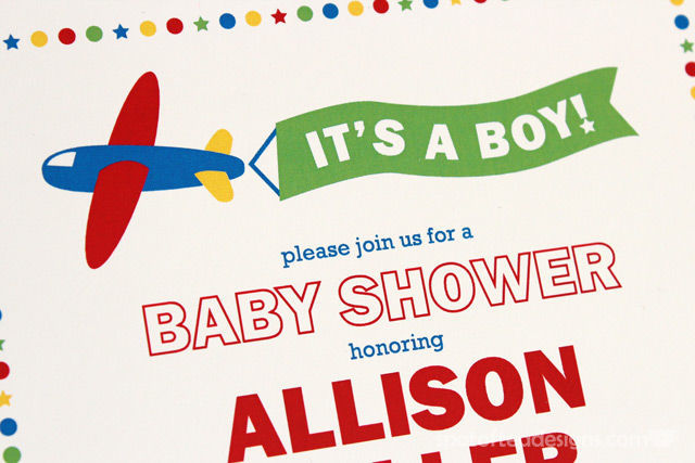 Transportation Baby Shower Invitation Close Up | spotofteadesigns.com