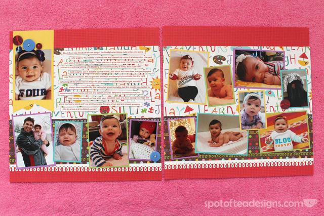 #baby #scrapbook Month 4 | spotofteadesigns.com