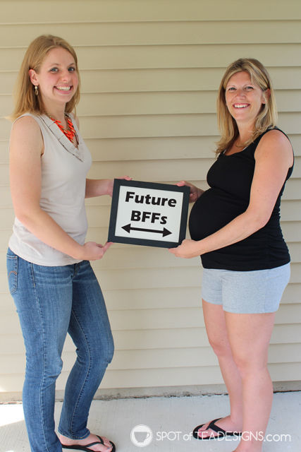 "Two #Pregnant best friends with a ""Future BFFs"" sign for their unborn babies 