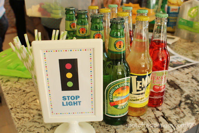 """Transportation Themed Baby Shower: Green, Yellow and Red Drinks named the """"stop light"""" station 