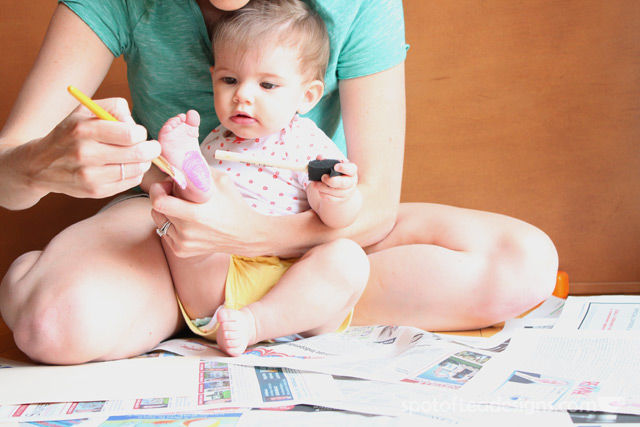 Watermelon Baby Footprint Cards - painting pink | spotofteadesigns.com