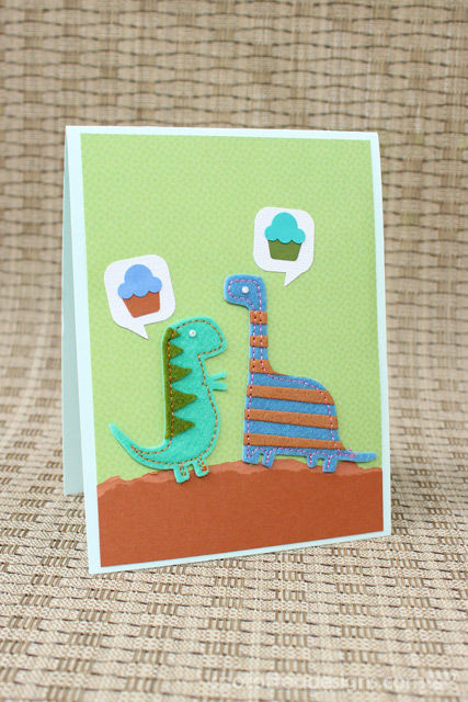 Handmade Birthday Cards: Dinosaurs talking about cupcakes | spotofteadesigns.com