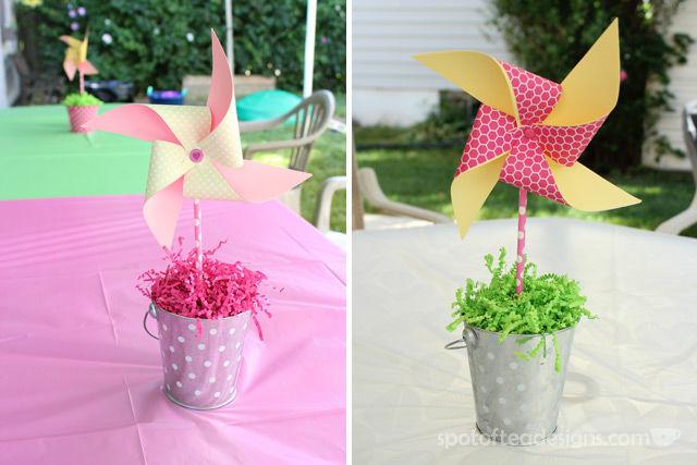 Pinwheel first birthday party: DIY Pinwheel centerpieces with pool noodle foam as center #birthdayparty | spotofteadesigns.com