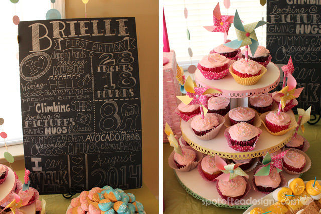 Pinwheel first birthday party: Faux Chalkboard Stats Sign and Pinwheel cupcake toppers. #birthdayparty | spotofteadesigns.com