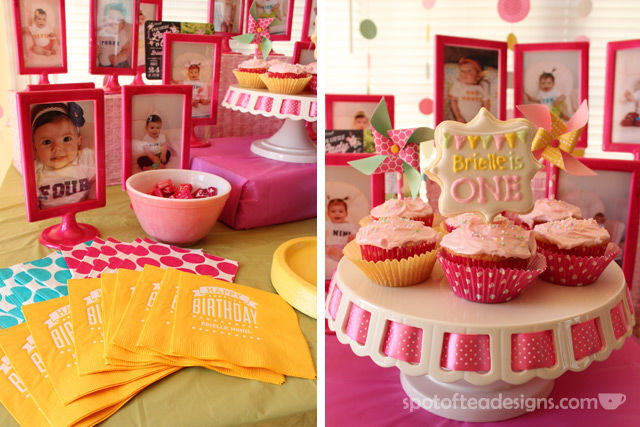 Pinwheel first birthday party: customized napkins and cookie pop #cupcake topper #birthdayparty | spotofteadesigns.com