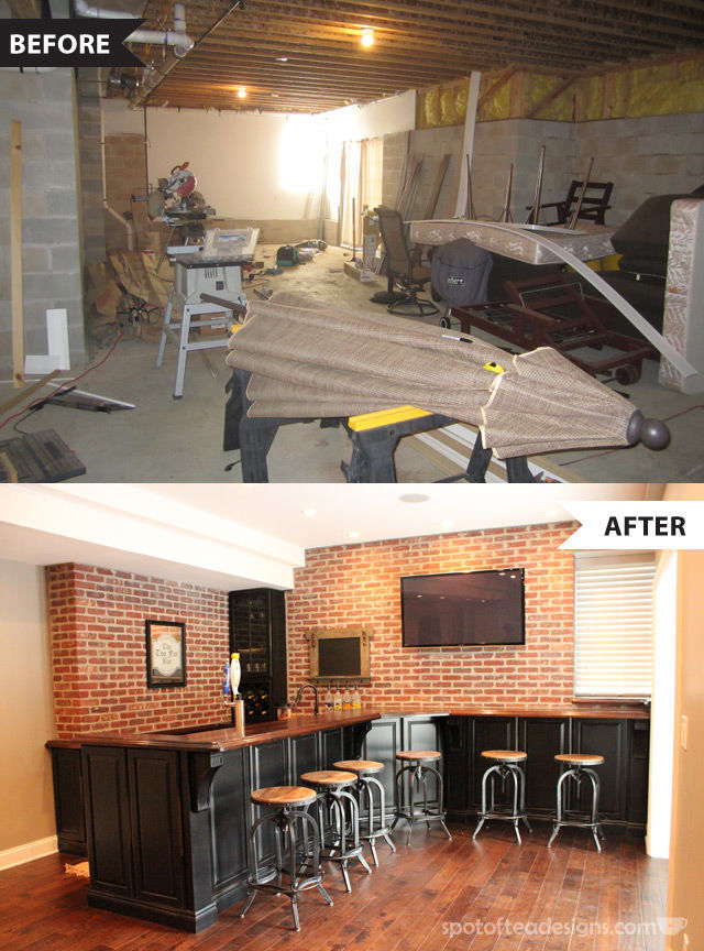 Classy take on the man cave basement bar with before and after photos #mancave | spotofteadesigns.com