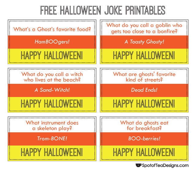 Free #Printable #Halloween Jokes | spotofteadesigns.com