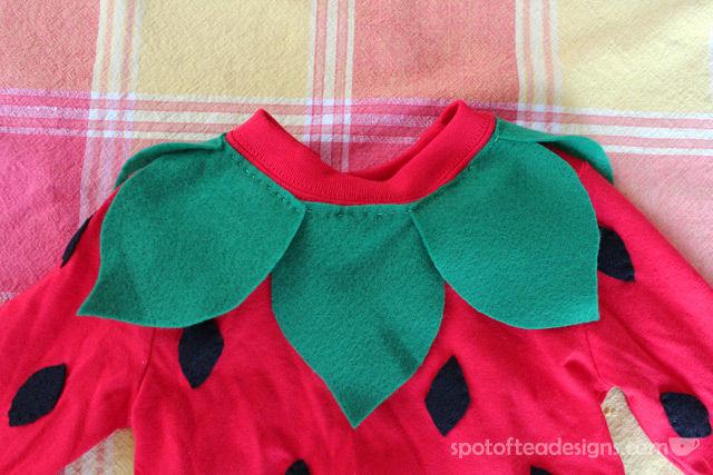 DIY Strawberry Toddler #Halloween Costume: In Progress Shot (Neckline incomplete) | spotofteadesigns.com