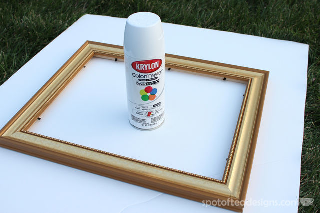 Easy Picture Frame Makeover: Taking an old gold frame and making it crisp modern white!   spotofteadesigns.com