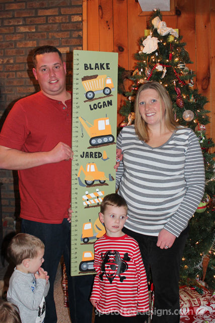 Construction Truck Themed Growth Chart as Name Reveal | spotofteadesigns.com