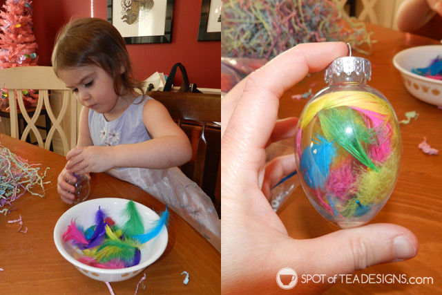 Kid crafted #Easter tree: decorate an artificial tree all year long, not just Christmas! | spotofteadesigns.com