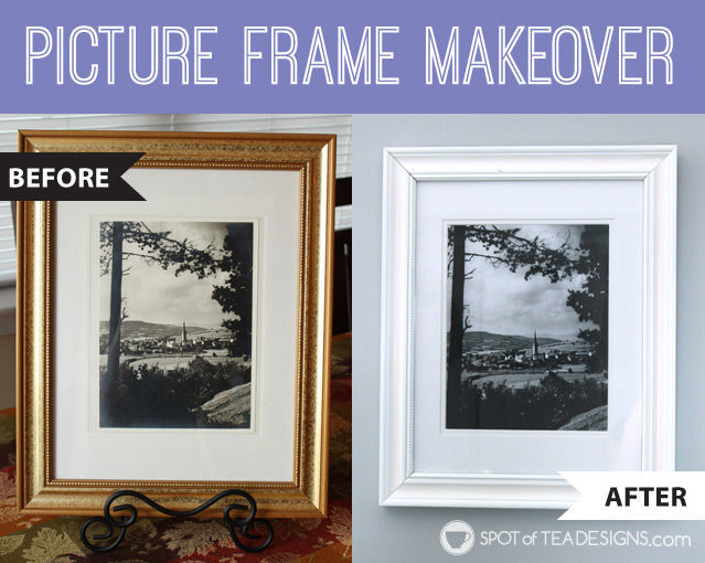Picture frame #Makeover with before and after photos   spotofteadesigns.com