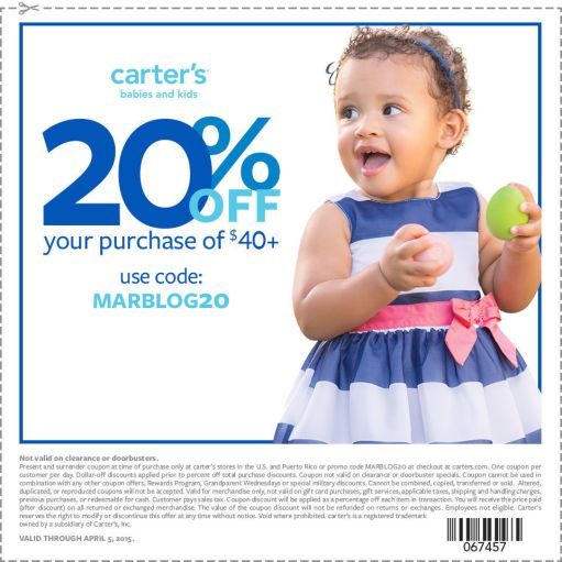 Carters Coupon for March 25 - April 6