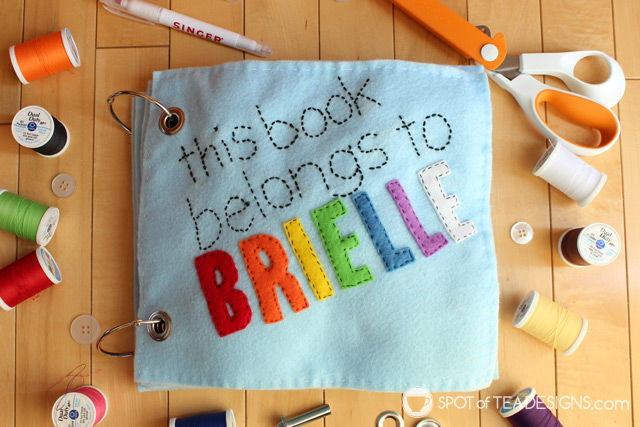 Under the sea themed felt quiet book for a toddler named Brielle. Includes free templates! | spotofteadesigns.com