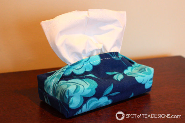 Handmade travel tissue pocket as created by Elizabeth Barboza and featured on spotofteadesigns.com