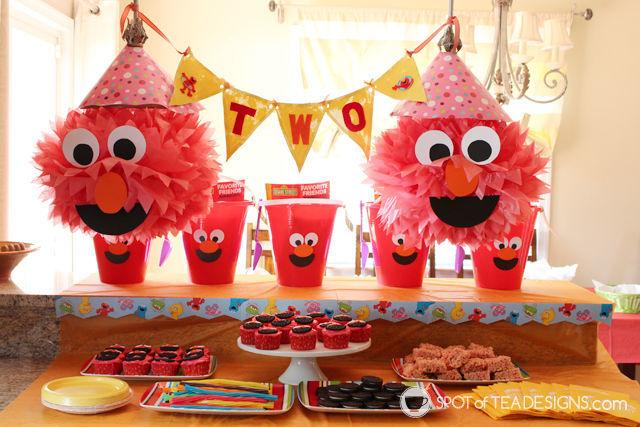Elmo 2nd #Birthday #Party - dessert table | spotofteadesigns.com
