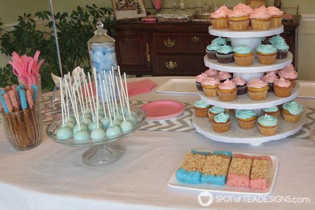 Fireworks Gender Reveal: dessert table details #baby #genderreveal | spotofteadesigns.com