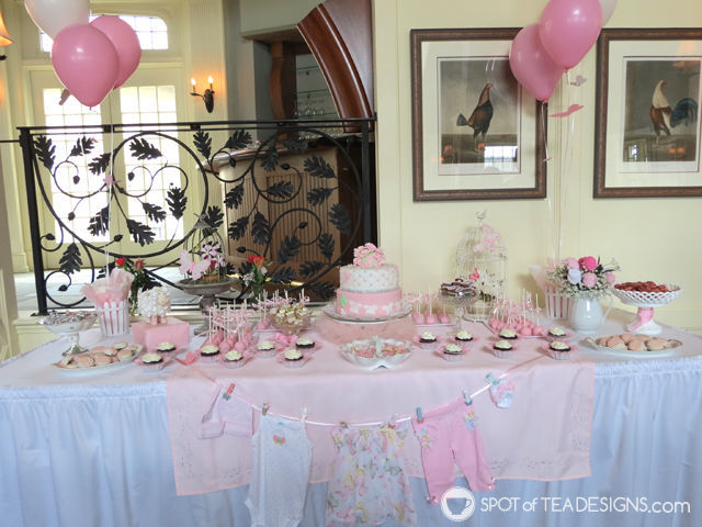 Sweet and Feminine Girl #BabyShower #Party Dessert Table | spotofteadesigns.com