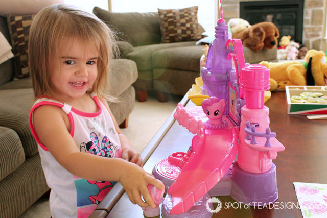 Brinley exploring the My Little Pony Musical Celebration Castle - #PlayAllDayElmo #IC #Ad | Spotofteadesigns.com