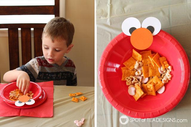 Our Playdate with Elmo. Alphabet themed snacks in an DYI Elmo plate. #PlayAllDayElmo #IC #Ad @HasbroNews | Spotofteadesigns.com