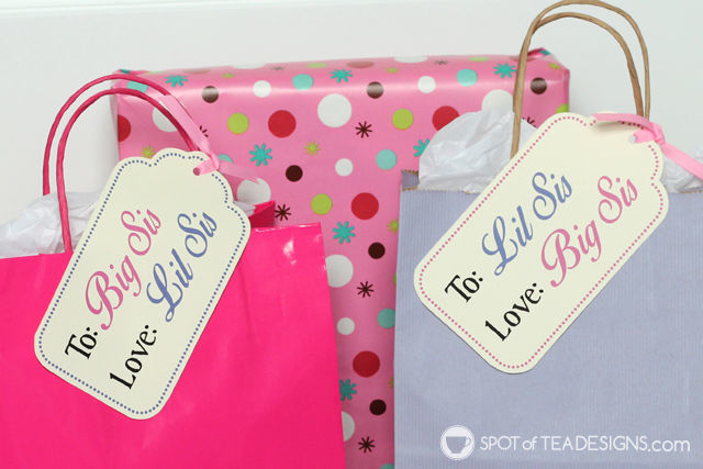 Sibling Hospital Welcome #Gifts for sisters to give each other when a new #baby arrives. Free #Printable | spotofteadesigns.com