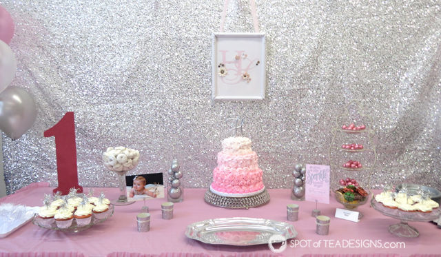 Sparkling First #Birthday #Party featuring a pink and silver sparkle color palette - dessert table | spotofteadesigns.com