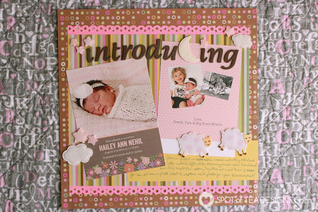 Hailey's First Year - Baby #Scrapbook - #babyannouncement card from @Shutterfly | spotofteadesigns.com