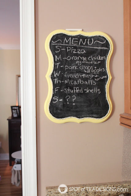 Chalkboard in kitchen to show meal plans for the week and everyone can pitch in for prep or reminding to defrost items! | spotofteadesigns.com