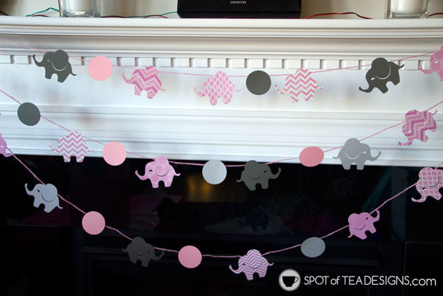 Adorable Pink elephant themed #babyshower for a mom to be - paper crafted garland photo backdrop | spotofteadesigns.com