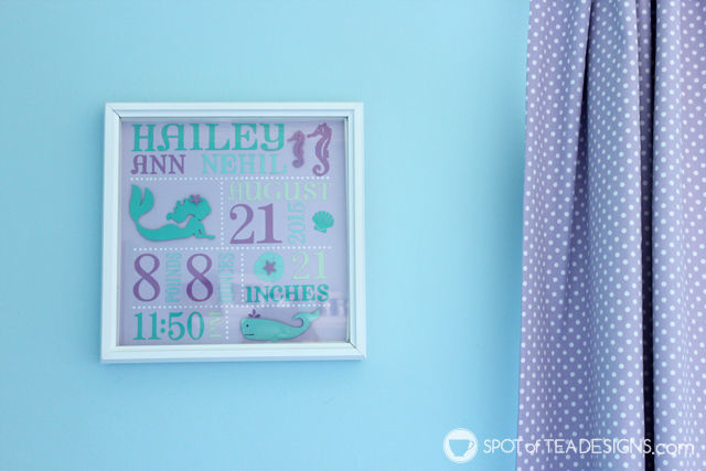 Handmade gift - Personalized frame using diecut machine. Matches baby's #nursery! | spotofteadesigns.com