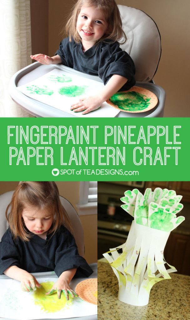 Fingerpaint pineapple lantern #kidscraft. Great summer project! | spotofteadesigns.com