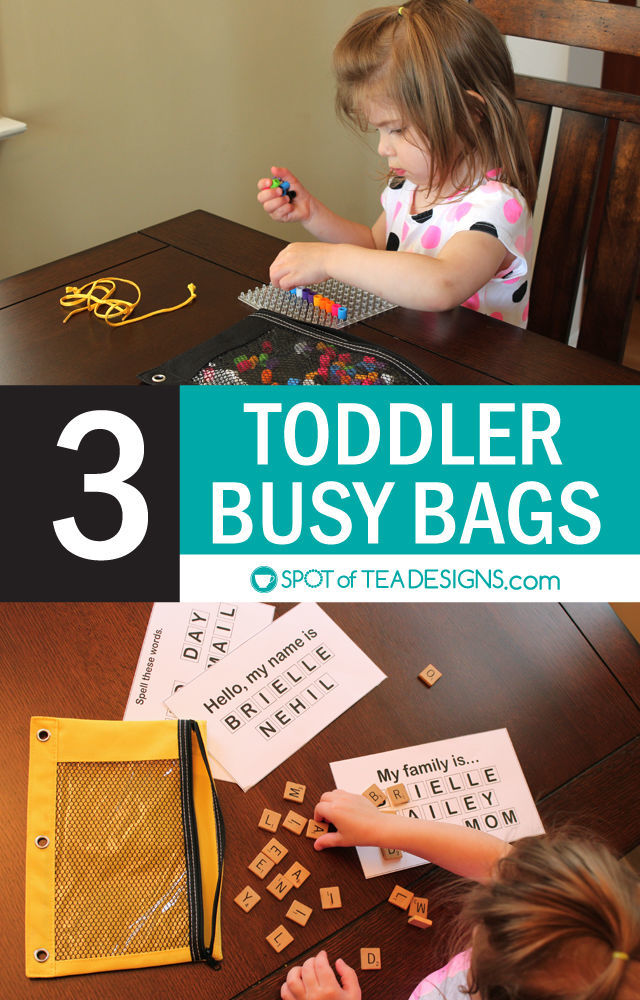 3 Toddler busy bags - using lose parts to make three quiet activities for toddlers | spotofteadesigns.com