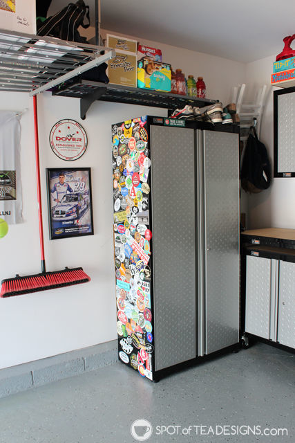 Take a tour of a clean and organized garage complete with resources on products used. #organization #garage #mancave | spotofteadesigns.com