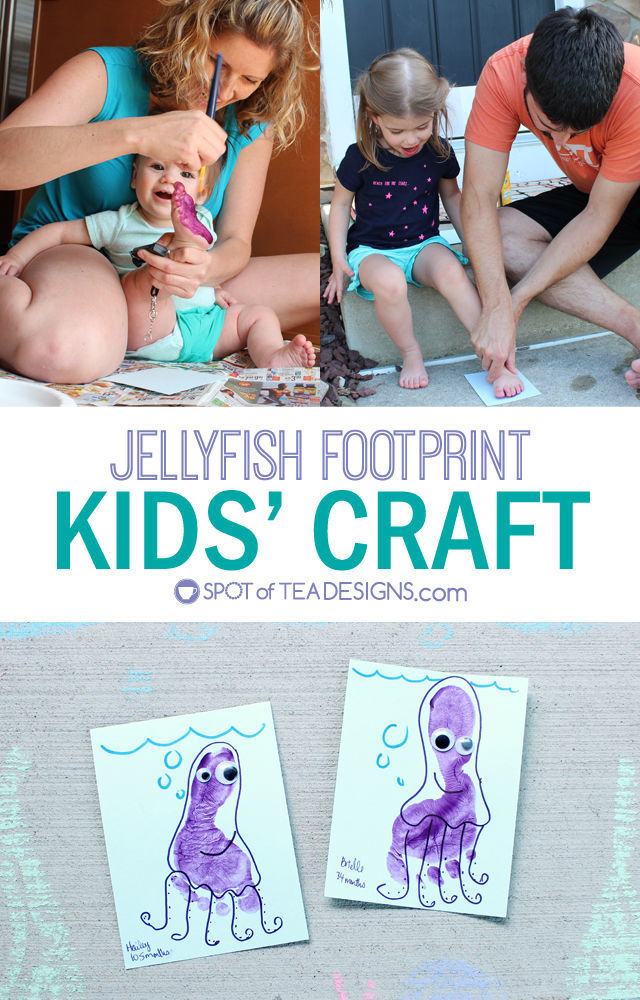 Jellyfish #Footprint #KidsCraft - great for infants and toddlers! | spotofteadesigns.com