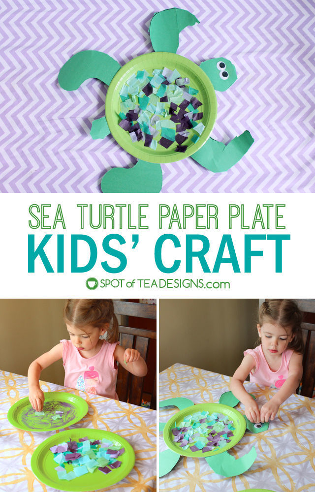 Sea Turtle Paper Plate #KidsCraft #preschool | spotofteadesigns.com