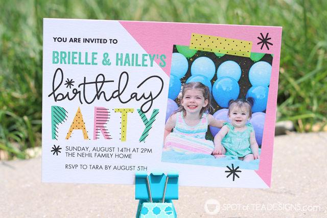 Birthday invitation for #birthdaytwins aka sisters who share a birthday two years apart | spotofteadesigns.com