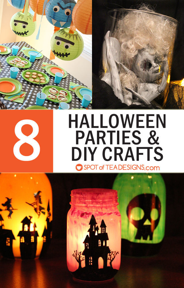 8 Halloween Party themes and DIY crafts. #halloween #party #crafts   spotofteadesigns.com