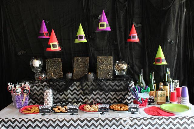 Hocus Pocus Halloween party theme. Turn party hats into floating witch hats! #halloween #party #hocuspocus   spotofteadesigns.com
