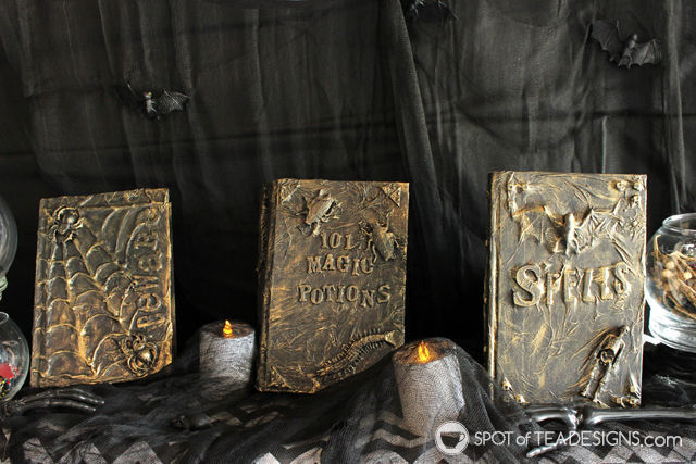 DIY Magic Spell Books made from thrift store books. #halloween #diy   spotoftadesigns.com