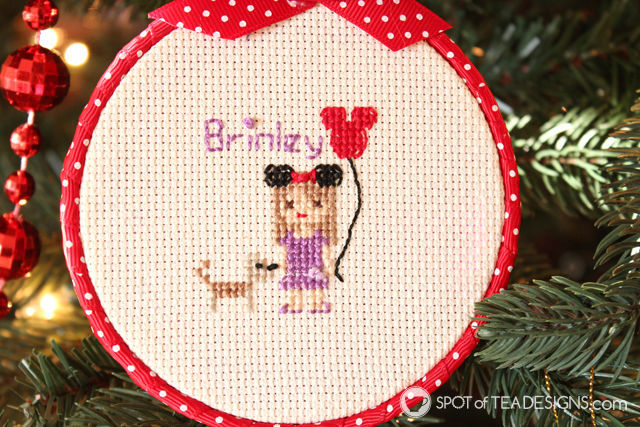 Cross Stitch Portrait Hoop Ornament Tutorial - featuring a disney fan | spotofteadesigns.com