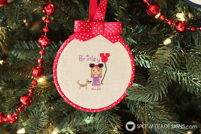 Cross Stitch Portrait Hoop Ornament Tutorial | spotofteadesigns.com
