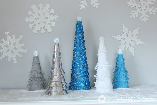 DIY Holiday cones made with cupcake wrappers and crepe paper | spotofteadesigns.com