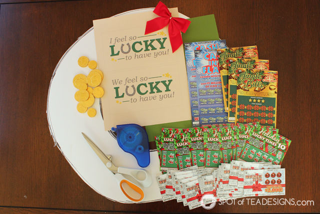 Step by step photo tutorial to make a DIY Lottery Wreath featuring #NJLottery instant win lottery tickets. #AD   spotofteadesigns.com